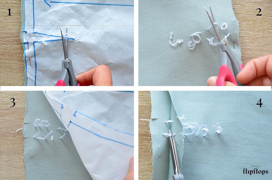 como marcar las pinzas de costura en la tela