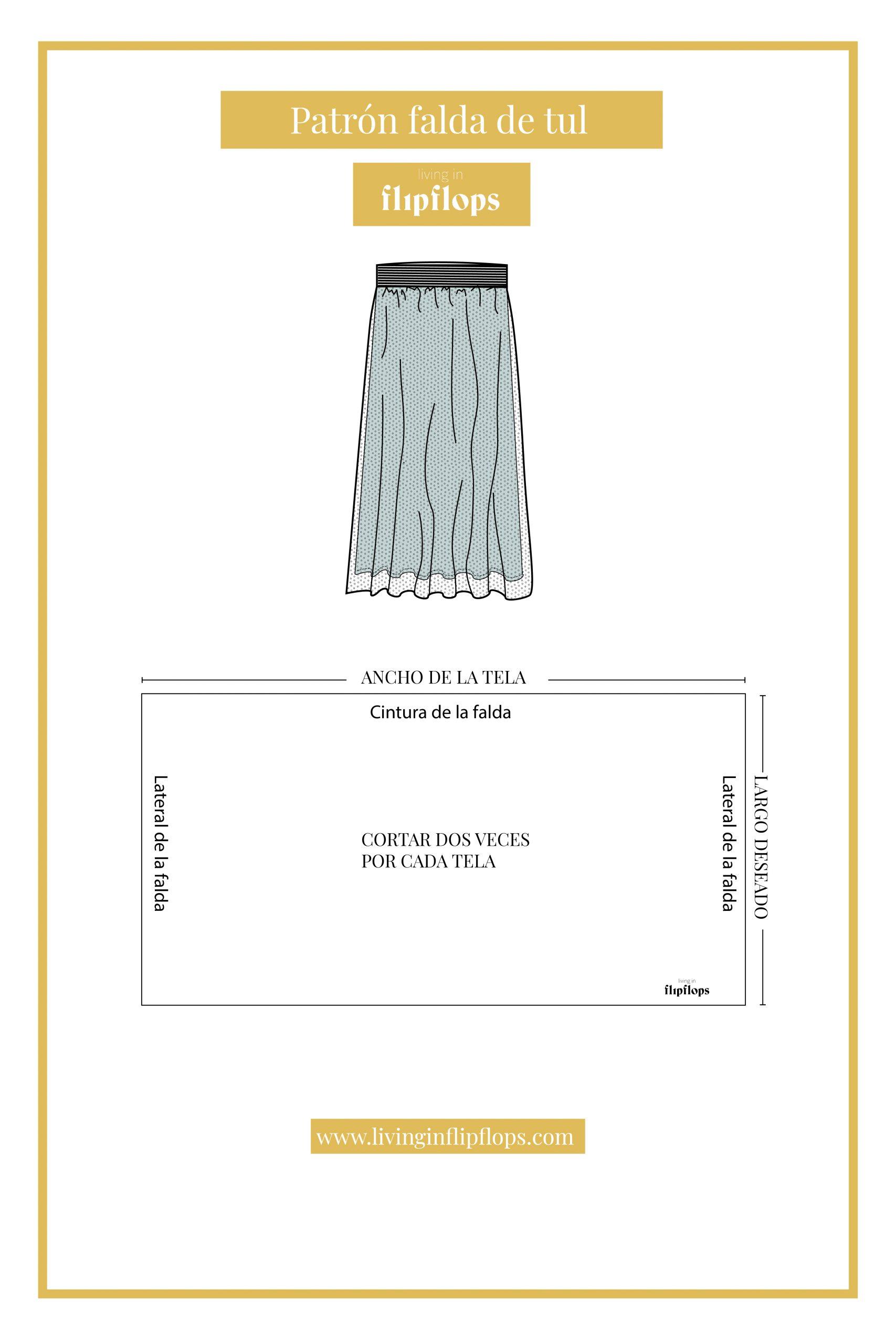patrón de costura falda de tul de living in flipflops