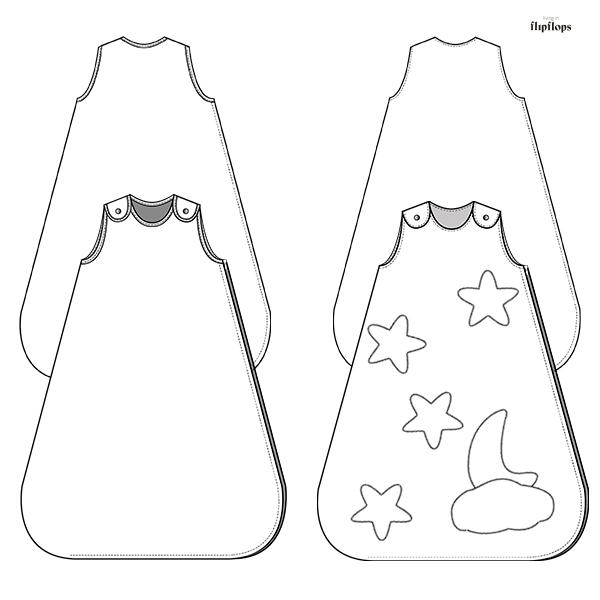 dibujos del patrón de costura douce nuit opción A y B por living in flipflops