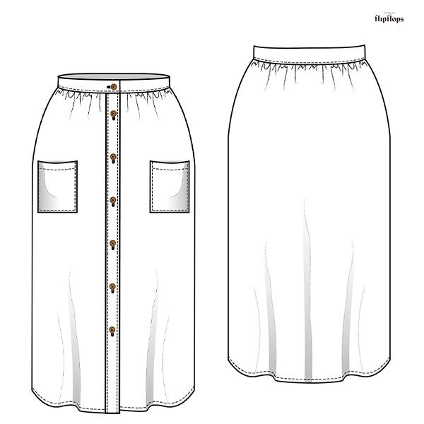 dibujo tecnico patron de costura falda fenix