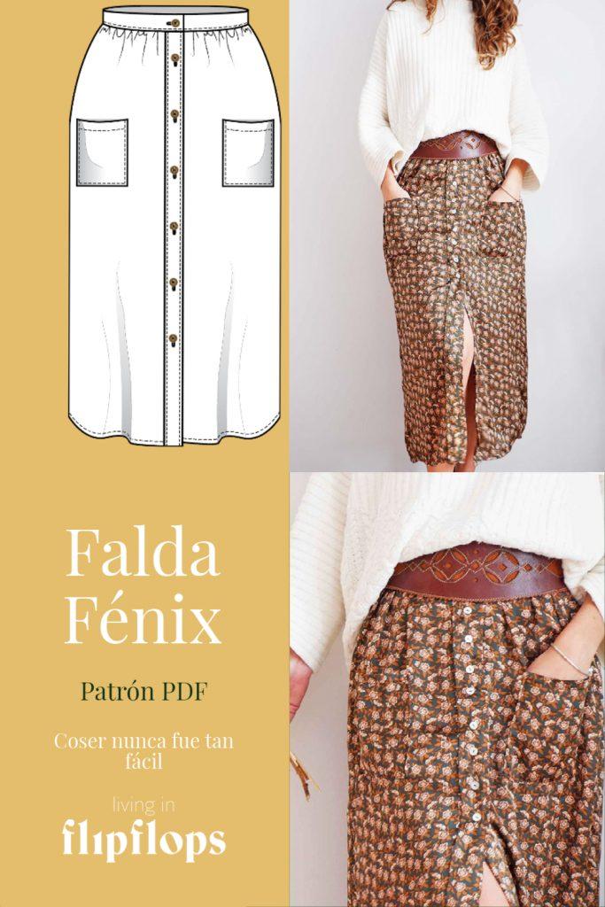 patrón de costura Falda de botones Fénix